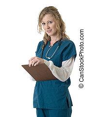 enfermera, engordar, gráfico paciente