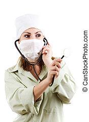 enfermera, estetoscopio
