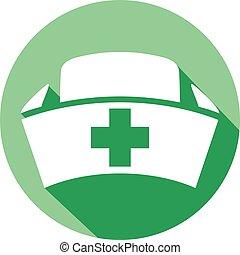 enfermera, gorra, plano, icono
