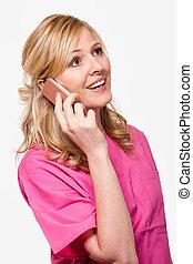 enfermera, hablar teléfono