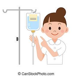 enfermera, infusión intravenosa con gotero, preparando