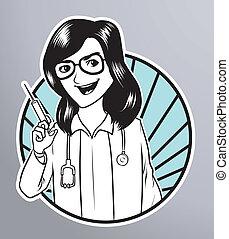 enfermera, jeringuilla