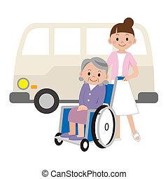 enfermera, joven, mujeres de edad