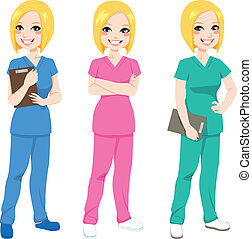 enfermera, posar, feliz