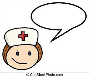 enfermera, refrán, -, vector, caricatura