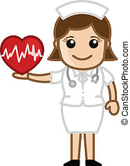 enfermera, tenencia, corazón, -, médico