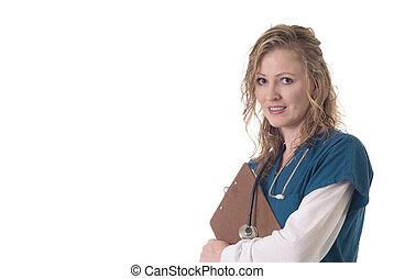 enfermera, tenencia, un, gráfico paciente