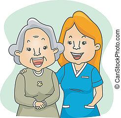 enfermera, y, paciente
