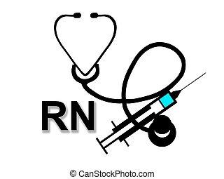 enfermero titulado, rn, señal, blanco