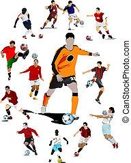 enfermo, coloreado, futbol, vector, players.