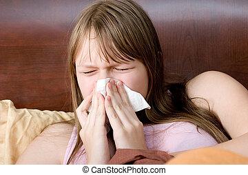 enfermo, con, gripe, adolescente, niña, en cama, estornudar,...