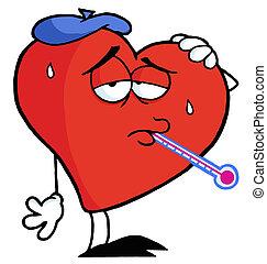 enfermo, corazón rojo, con, un, termómetro