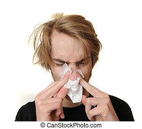 enfermo, fiebre, frío, enfermo