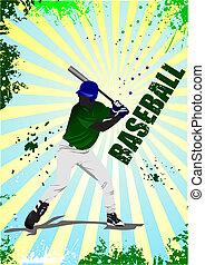 enfermo, jugador béisbol, poster., vector