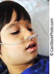 enfermo, niño, en, hospital