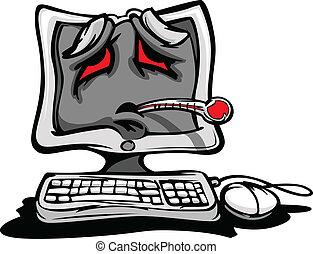 enfermo, o, estropeados, computadora
