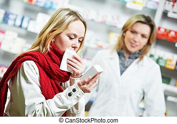 enfermo, paciente, en, farmacia, droga