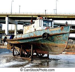 enferrujado, antigas, bote, puxão