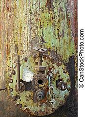 enferrujado, antigas, máquina