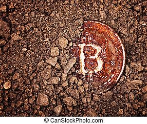 enferrujado, enterrado, bitcoin