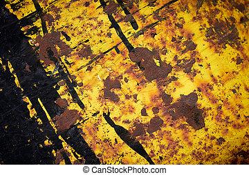 enferrujado, grunge, amarela, ferro, texture.