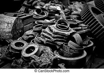 enferrujado, industrial, partes máquina