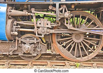 enferrujado, mecanismo vapor velho, rodas