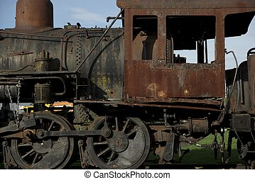 enferrujado, vapor, locomotiva