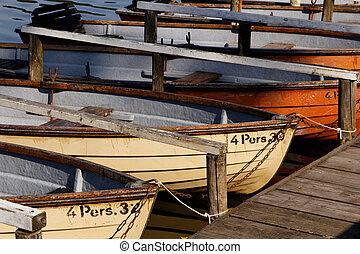 enfileirando barcos, em, a, schlachtensee