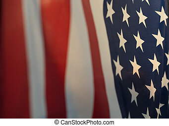 enfocado, bandera, selectivo, américa
