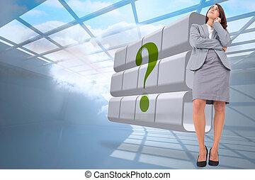 enfocado, imagen compuesta, mujer de negocios