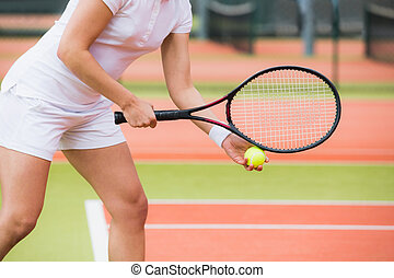 enfocado, jugador del tenis, listo, para servir