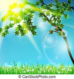 enfoque., verde, selectivo, natural, plano de fondo