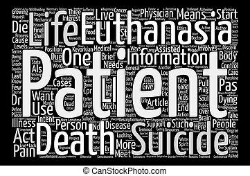 enfoques, a, cuidado, en, médico, suicidio asistido, palabra, nube, concepto, texto, plano de fondo