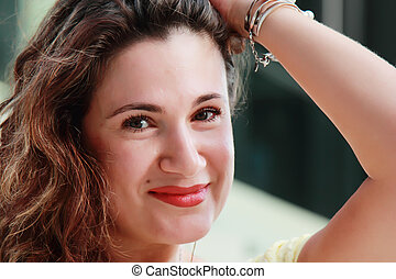 enfrente retrato, de, um, bonito, 35, anos velho, mulher