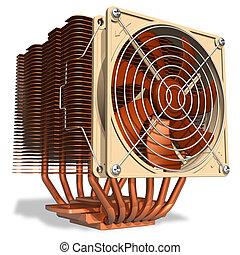 enfriador, cobre, fuerte, unidad central de procesamiento