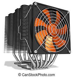 enfriador, heatpipes, fuerte, unidad central de procesamiento