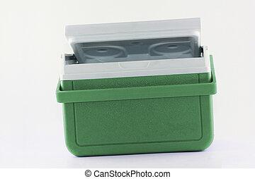enfriador, pecho, verde, portátil, hielo