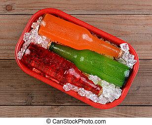 enfriador, rojo, hielo, sodas