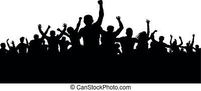enfurecido, silueta, torcida, pessoas, zangado, protesters, vetorial, turba