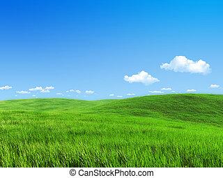 eng, natur, -, samling, grønne, skabelon