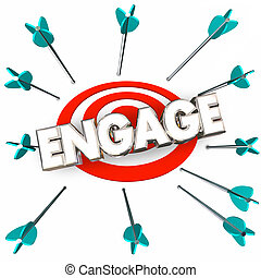 Engage Get Involved Participate Arrows Bullseye Word 3d ...