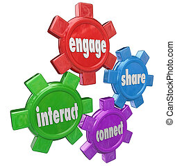Engage, Interact, Share and Connect words on gears to illustrate sharing information and communicating in a network of people
