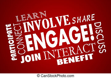 Engage Involve Participate Join Interact Word Collage