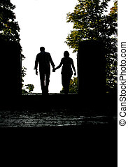 engaged couple silhouette - silhouette of an engaged man and...