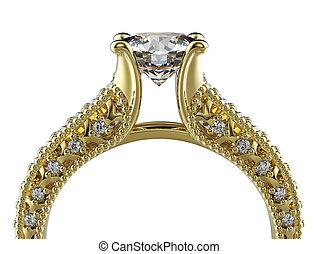 engagement, doré, diamond., fond, anneau, bijouterie