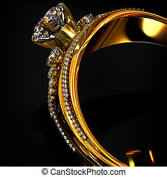 Engagement gold ring with brilliant gem.