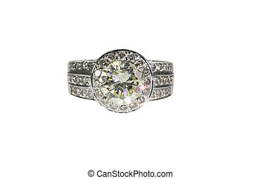 engagement, or, diamant, platine, bande mariage, anneau, ...