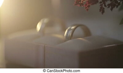 Engagement ring box with two wedding rings lit by sunset rays close up