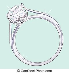 Engagement ring drawn with chalk brushes